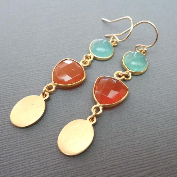 Aqua Chalcedony and Red Onyx Earrings - Natural Gemstone Earrings - Aqua and Red Jewelry //E135