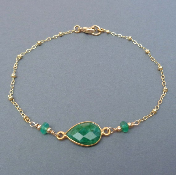 Emerald Gold Fill Bracelet / May Birthstone Jewelry / Genuine Emerald / Gemstone Jewelry / Dainty Emerald Bracelet
