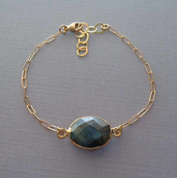 Labradorite Gold Fill Bracelet / Flashy Labradorite Paperclip Chain / Transformation Calming Crystal