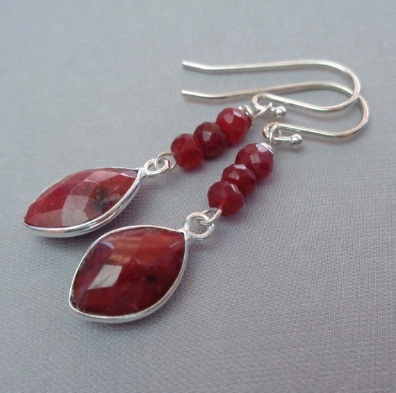 July Birthday Gift / Ruby Dangle Earrings / July Birthstone Jewelry / Sterling Silver Ruby Gemstone Earrings