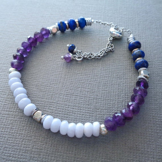 Anxiety Healing Bracelet / Blue Lace Agate Amethyst Lapis Lazuli / Worry Insomnia Stress Healing / Intention Jewelry
