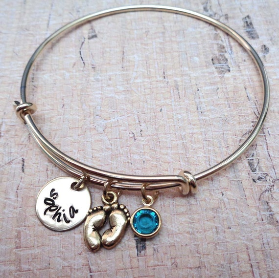 New Mommy New Baby Bangle- Personalized Name Birthstone Bracelet - Gift for Mommy Grandma - New Baby Jewelry