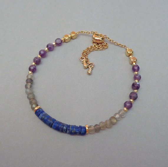 Amethyst Lapis Lazuli Labradorite Bracelet / Coping with Change / Stress Relief / Anti-anxiety Jewelry