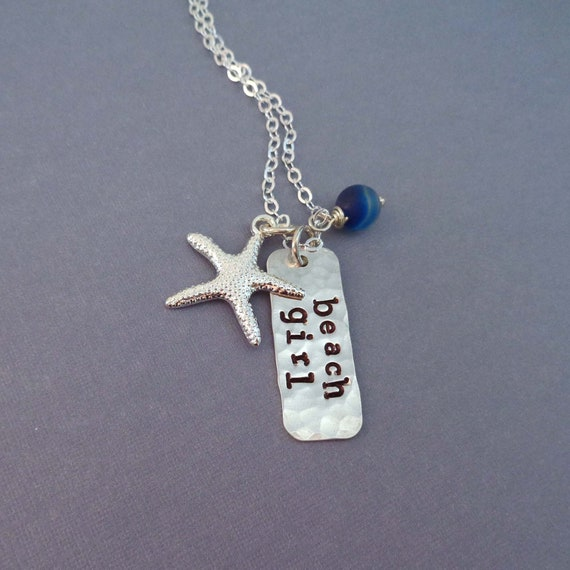 Beach Girl Sterling Silver Necklace / Beach Lover Gift / Beach Babe Starfish Jewelry / I love the Beach