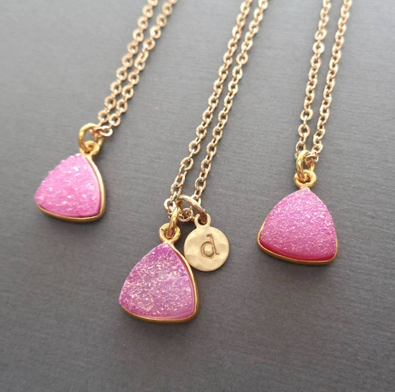 Pink Druzy Necklace / Personalized Gold Initial / Pink Wedding Bridesmaid Gift / Sparkly Stone Jewelry