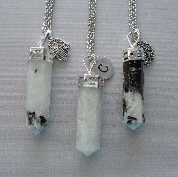 Moonstone Point Necklace / Gemini Stone / Moon Charm / Hamsa Personalized Initial / Moonstone Jewelry