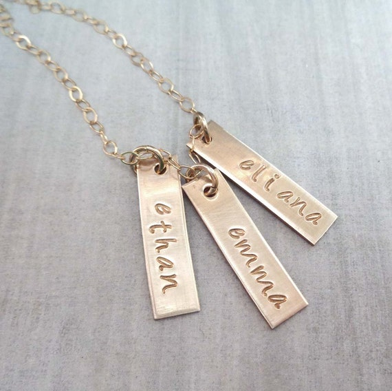 Personalized Gold Bar Necklace / Mother Gift / Mothers Day Jewelry / Gold Nameplate Tags / Custom Kids Names