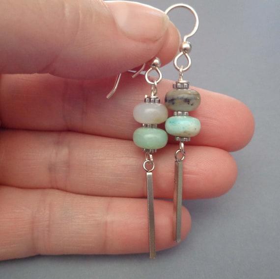 Opal and Silver Earrings - Stacked Opal Drop Earrings - Genuine Opal Jewelry - Modern Stone Earrings