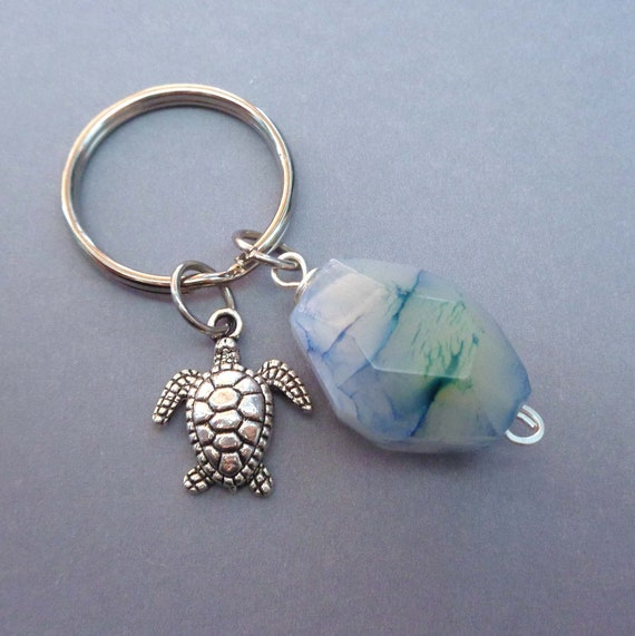 Blue Fire Agate Keychain / Turtle Keychain / Mermaid and Agate / Starfish Blue Stone / Sea Creature Gift / Save the Ocean Gift