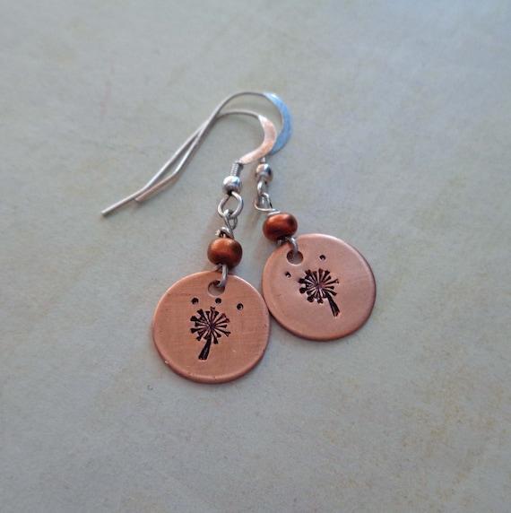 Copper Dandelion Earrings / Sterling Silver Ear wires / Flower Earrings / Spring Fashion / Floral Jewelry / Make a Wish