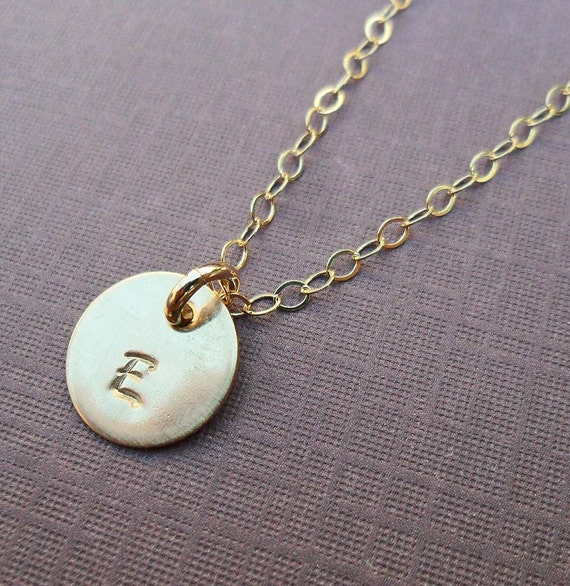 Gold Initial Necklace - Gold Fill Initial - Personalized Initial Necklace -Hand-Stamped Custom Initial- Gift for Mom - Birthday Gift-  S186