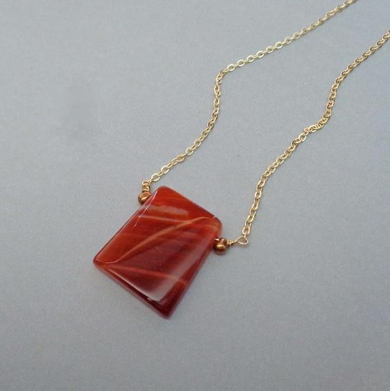 Carnelian Pendant Necklace / Large Carnelian Ladder Jewelry / Stone of Creativity & Vitality / Colorful Necklace