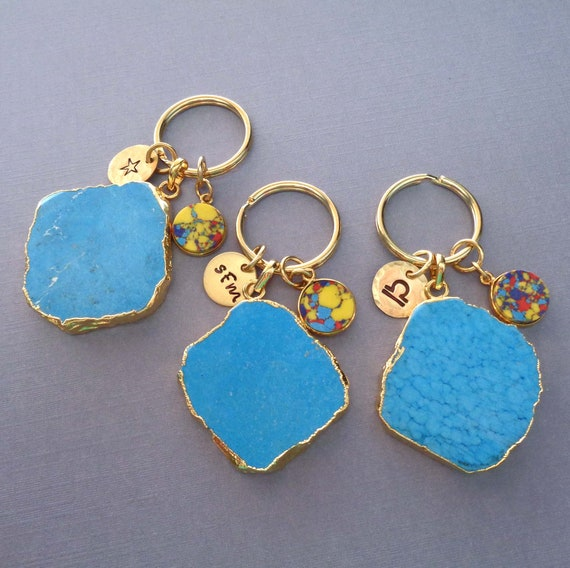 Turquoise Howlite Personalized Keychain / Large Blue Stone / Custom Initial Name Design Zodiac / Turquoise Gift