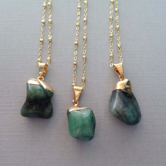 Natural Emerald Necklace / May Birthstone Necklace / Gold Caped Tumbled Emerald / 20th Anniversary Gift / May Birthday Gift