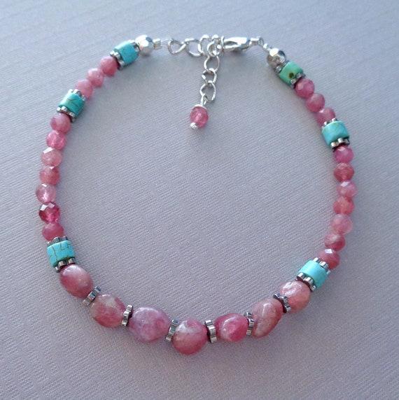Pink Tourmaline and Turquoise Beaded Bracelet / Pink and Blue Bracelet / Colorful Stone Bracelet / Genuine Gemstones