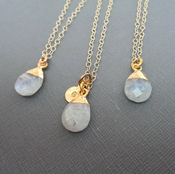 Personalized Initial Gold Moonstone Necklace / June Birthstone Gift / Genuine Moonstone / June Bridesmaid Wedding