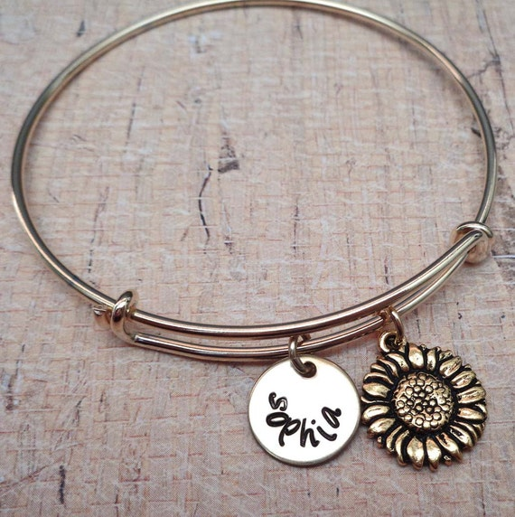 Sunflower Bracelet - Personalized Sunflower Bangle - Custom Names Initials - My Sunshine -B-52