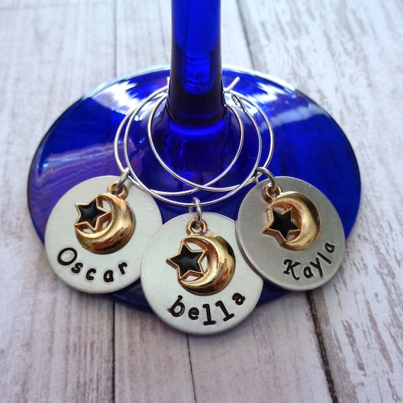 Custom Wine Charms / Personalized Name Celestial Wine Charm / Hostess Gift / Moon and Star Wine / Tarot Party Gift