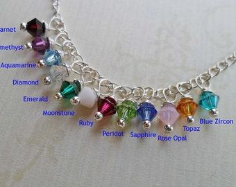 Add-on Crystal - Birthstone Crystal - Birthstone Charm - Wire-wrapped Swarovski Crystal