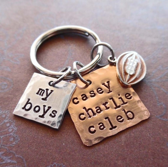 My Football Boys Keychain - Personalized Names Football- Man Dad Father Mommy gift - My Boys Sport Personalized Keychain
