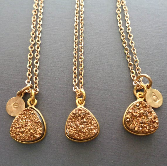 Gold Druzy Gold Initial Necklace / Personalized Jewelry / Gift for Friend / Sparkly Stone