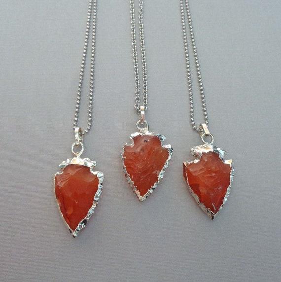 Carnelian Arrowhead Necklace / Creativity Vitality Stone / Sacral Chakra Stone / Crystal Arrowhead Jewelry