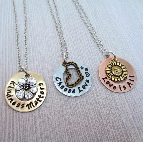 Inspirational Necklace / Mantra Jewelry / Inspire Gift / Choose Love / Kindness Matters / Love is All