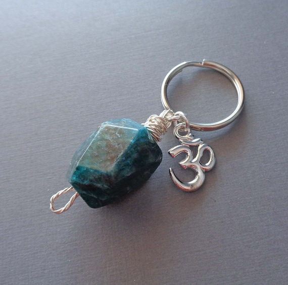 Natural Apatite Keychain / Large Apatite Smooth Nugget / Meditation Stone / Balance Mind Body Spirit Stone