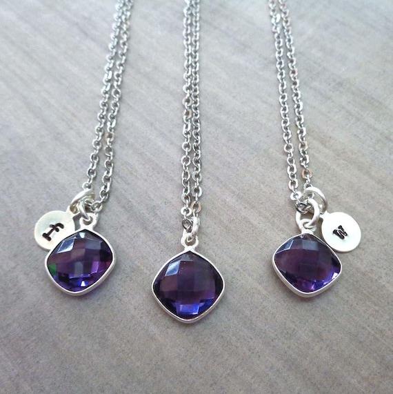 Personalized Amethyst Cushion Necklace / February Birthstone Jewelry / 6yr Anniversary / Custom Initial Birthday Gift