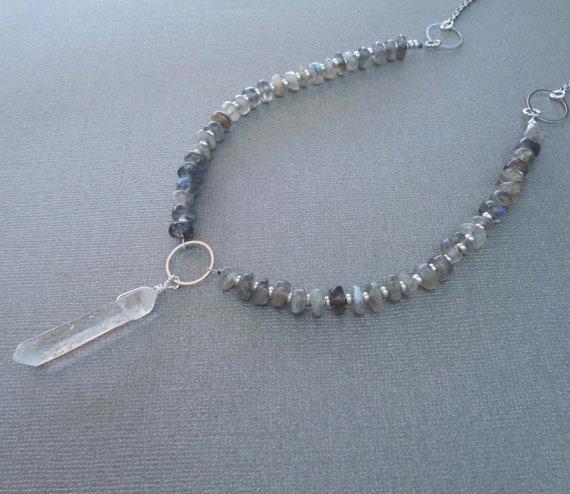 Beaded Labradorite Pebble Necklace with Clear Crystal Pendant / Natural Labradorite / Transformation Faith Stone