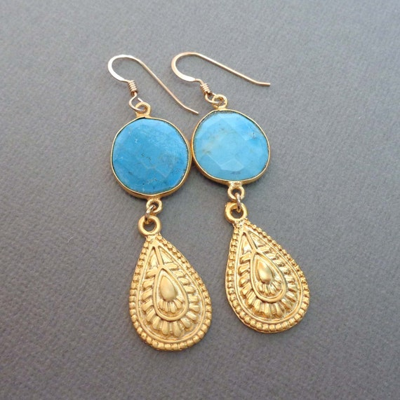 Turquoise Gold Drop Earrings / 11th Anniversary Gift / December Birthstone Gift / Natural Turquoise Jewelry