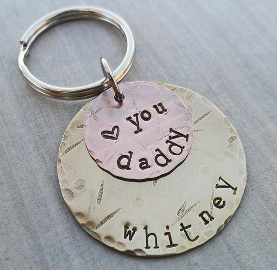 Personalized Dad Keychain - Love You Daddy - Father Dad Key Holder- Hand-stamped Personalized Fathers Day Gift - New Daddy Gift