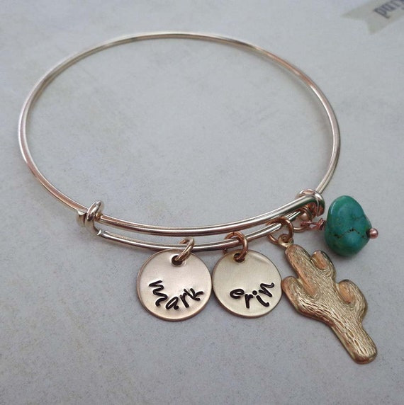 Gold Cactus Bangle Bracelet - Personalized Names Southwestern Jewelry - Cactus Jewelry