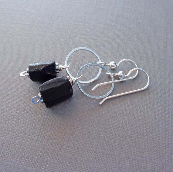 Black Tourmaline Nugget Hoop Earrings / Protection Stone / Raw Black Tourmaline Silver Earrings