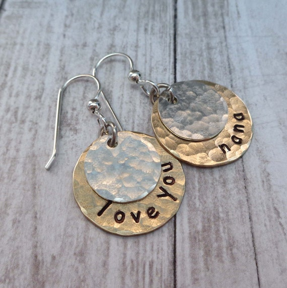 Personalized Earrings / Hammered Discs / Custom Word Name / Mother's Day Gift / Gift for Her