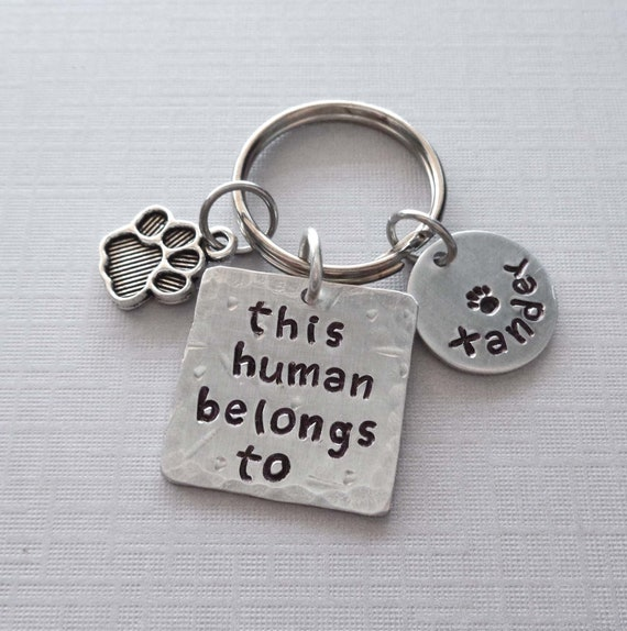This Human Belongs To Personalized Pet Keychain / Pet Lover Gift / Custom Pet Names / Dog Mama Cat Mom Gift