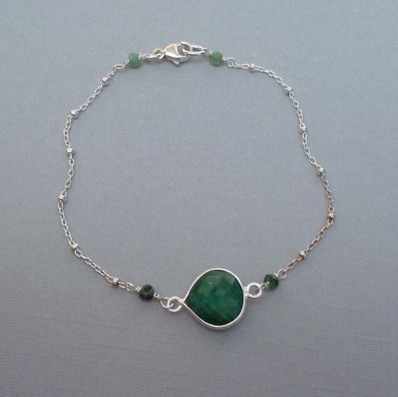 Dainty Emerald Sterling Silver Bracelet / May Birthstone Jewelry / Natural Emerald / Gemstone Jewelry