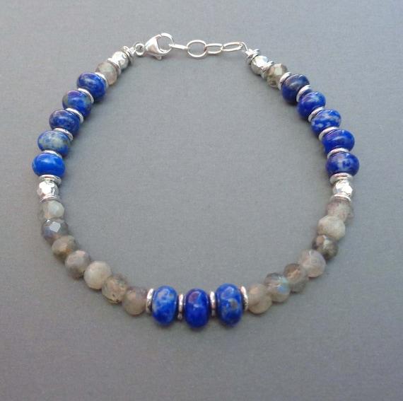 Labradorite and Lapis Lazuli Bracelet / Third Eye Chakra / Stress Relief Stones / Transformation Crystals