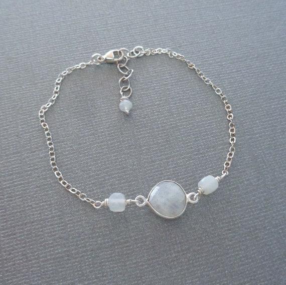 Silver Dainty Moonstone Bracelet / Genuine Moonstone Jewelry / June Birthday Gift / Fertility Stone