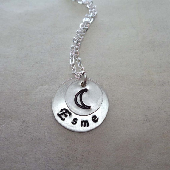 Moon Necklace Custom Name / Love you to the Moon Name Jewelry / Sterling Silver Necklace / Baby Shower Gift
