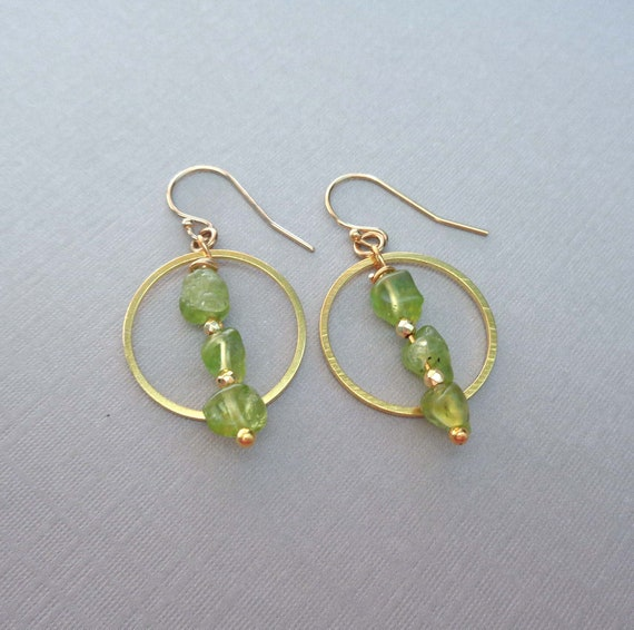 Peridot Hoop Earrings / August Birthstone / Genuine Peridot Nugget Earrings / August Birthstone Gift