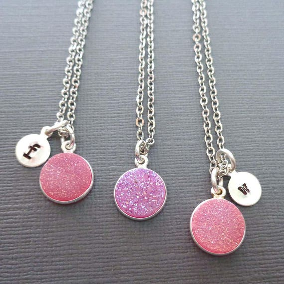 Pink Druzy Initial Necklace/ Small Round Pink Stone / Pink Wedding Bridesmaid Gift