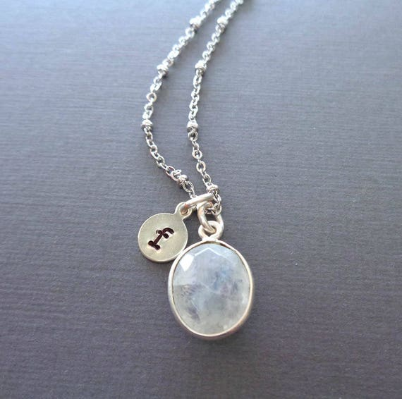 Moonstone Necklace Custom Initial / June Birthstone Silver Necklace / June Gift / Natural Moonstone Oval
