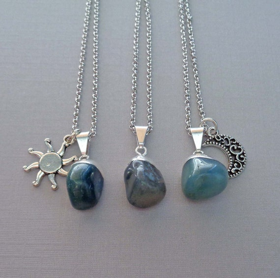 Tumbled Blue Agate Pendant Necklace / Sun Charm / Silver Moon Charm / Tranquility Stone / Throat Chakra