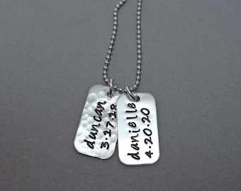 Personalized Sterling Silver Tag Necklace / Custom Name Date Tag / Gift for Him / Mothers Day Gift / New Baby Gift