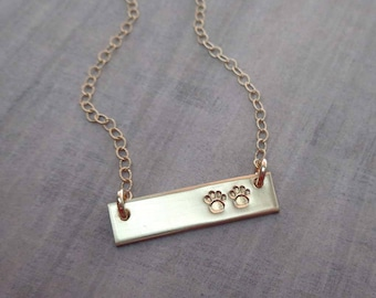 Gold Paw Necklace - Furbabies Bar Necklace - Stamped Paw Pet Jewelry - Pet Lover Gift - Rescue Mom - Dog Mom Gift - Fur Babies Paws