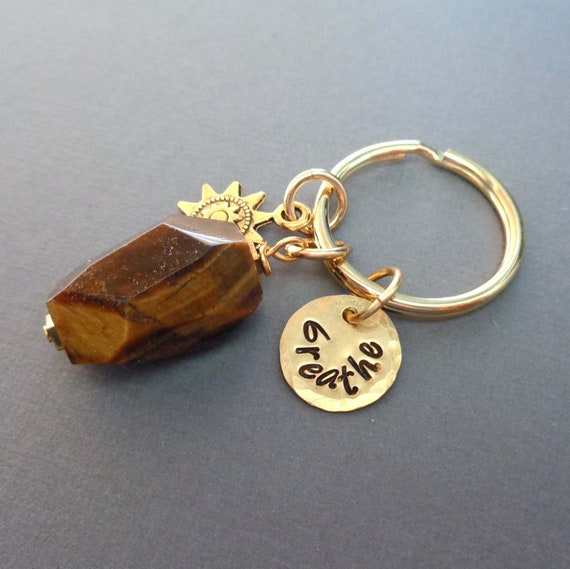 Tiger Eye Keychain / Personalized Name Word Date / Strength Courage Power Stone / Crystal Keychain Gift