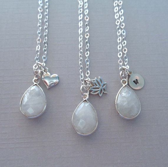 Sterling Silver Moonstone Necklace / Personalized Initial / June Birthstone Gift / Lotus Heart Charm / Gemini Stone