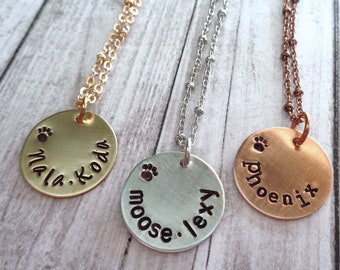Personalized Pet Name Necklace - Small Dog Name Necklace - Minimal Cat Lover Jewelry - Pet Love Gift - Dog Mom - Cat Mom
