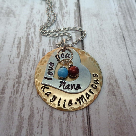 Love You Nana Necklace with Birthstone Pearls - Personalized Grandma Necklace - Mothers Day Gift - Custom Nonna Mimi